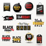 Black friday sale banner vector shopping offer for nighttime season winter sale poster stickers advert illustration. Black color icons web banners Royalty Free Stock Images