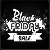 Black Friday sale banner with white ribbon on bokeh background Royalty Free Stock Photo