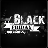 Black Friday sale banner with white ribbon on bokeh background Stock Image