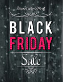 Black friday sale banner on wooden background, vector Royalty Free Stock Image