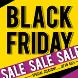 Black friday sale banner on yellow background, vector Royalty Free Stock Photography