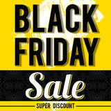 Black friday sale banner on yellow background, vector Royalty Free Stock Images