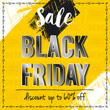 Black friday sale banner on yellow patterned background, vector Stock Image