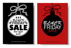 Black Friday Sale Banners With Christmas Ball. Royalty Free Stock Images