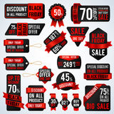 Black friday sale banners and price tag labels, selling card and discount stickers vector set Royalty Free Stock Photography