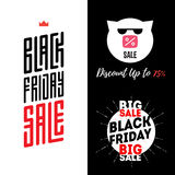 Black Friday Sale banners template. Pig in sunglasses with inscr Royalty Free Stock Photography