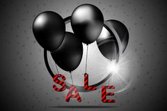 Black friday sale with black balloons and circle. Vector illustration. vector illustration