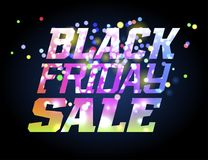 Black Friday Sale. Promotion poster with colorful lettering and firework Stock Image
