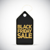 Black Friday Sale Black Label with Golden Letters Vector  Royalty Free Stock Images