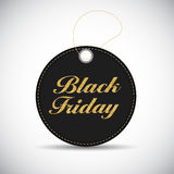 Black Friday Sale Black Label with Golden Letters Vector  Stock Image
