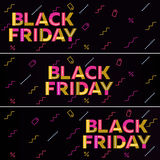 Black friday sale. Black web banner. Poster Sale Stock Photos