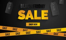 Black friday sale black and yellow banner. Sale poster with price tags and yellow caution tape.    Vector illustration Royalty Free Stock Photography