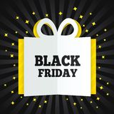 Black friday sale box cut the paper. Yellow stars. Stock Images