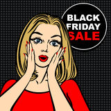 Black friday sale bubble and pop art astonished cute girl. Opening mouth Royalty Free Stock Photography