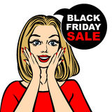 Black friday sale bubble and pop art astonished cute girl. Opening mouth Royalty Free Stock Photo