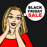Black friday sale bubble and pop art astonished cute girl. Opening mouth Stock Photography