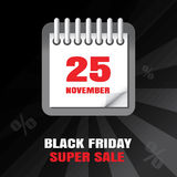 Black Friday sale calendar background royalty free stock images