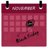Black Friday 2017 sale calendar. Background. 24 th of november Royalty Free Stock Images