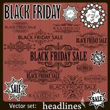 Black Friday sale calligraphic design elements. Royalty Free Stock Photo