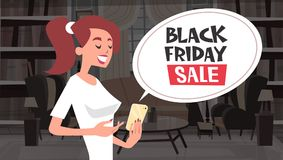 Black Friday Sale Chat Bubble Message From Girl Using Cell Smart Phone Holiday Discounts Banner Design Stock Image