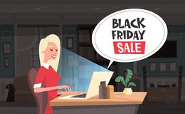 Black Friday Sale Chat Bubble Over Woman Using Laptop Computer Holiday Discounts Banner Design Stock Photo