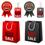 Black Friday Sale Collection. Collection of Black Friday sale elements: shopping bags, award ribbons and gift tags in two different colors (red and black) Royalty Free Stock Photos