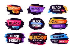 Black Friday Sale Collection Vector Illustration. Black Friday sale and discount, collection of stickers with backgrounds and unique titles decoration on vector Royalty Free Stock Photo