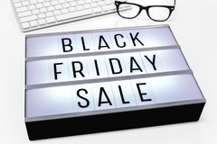 Black friday sale with computer keyboard royalty free stock photography