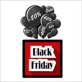 Black Friday sale concept with black balloons. Black Friday concept with bunch of black balloons and square  red tag on white background with words sale, bogo Royalty Free Stock Image