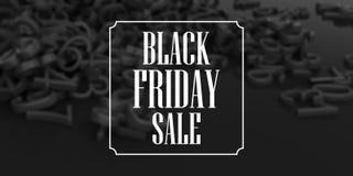 Black Friday sale concept. 3d illustration. Black Friday sale text on black background. 3d illustration Stock Photos