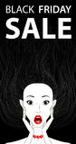 Black friday sale conceptual banner surprised girl, open mouth Stock Photography
