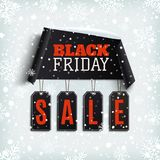 Black friday sale. Curved paper banner with black price tags. Royalty Free Stock Photo