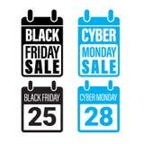 Black Friday Sale, Cybermåndag baner, affisch vektor illustrationer