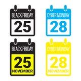 Black Friday Sale, Cybermåndag baner, affisch stock illustrationer