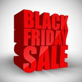 Black friday sale 3d red text isolated on white background. Illustration of Black friday sale 3d red text isolated on white background Stock Images