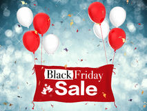 Black friday sale. 3d rendered black friday sale banner with red cloth banner, red balloons and confetti royalty free stock photos
