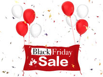 Black friday sale. 3d rendered black friday sale banner with red cloth banner, red balloons and confetti stock image