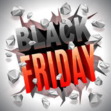 Black Friday Sale. Black Friday 3D text breaking through white wall Stock Photos