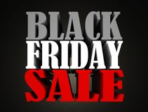 Black friday sale 3d text render. In gray, white and red colors isolated on black background Stock Photos