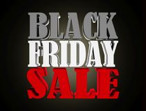 Black friday sale 3d text render isolated on black Stock Photography