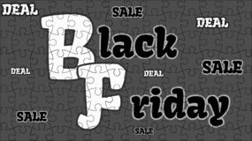 Black Friday sale and deal - gray jigsaw puzzle vector illustration