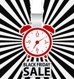 Black friday sale design with alarm clock Royalty Free Stock Photos
