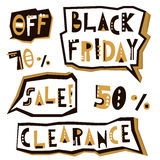 Black Friday sale design elements in geometric style. Black Friday clearance inscription labels, stickers. Vector illustration. Black Friday sale design Stock Photography