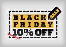 Black Friday sale design template. Black Friday banner. 10% off Stock Images