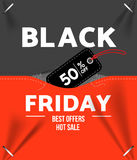 Black friday sale. Design template black friday banner, poster vector illustration Stock Photos