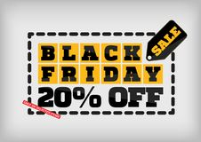 Black Friday sale design template. Black Friday banner. 20% off. Special offer Royalty Free Stock Photography