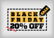 Black Friday sale design template. Black Friday banner. 20% off. Special offer royalty free illustration