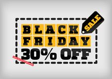 Black Friday sale design template. Black Friday banner. 30% off Stock Image