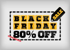 Black Friday sale design template. Black Friday banner. 80% off. Special offer Stock Illustration