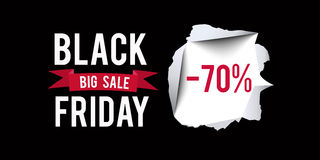 Black Friday sale design template. Black Friday 70 percent discount banner with black background. Vector illustration. Stock Photography